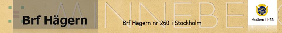HSB Brf Hägern nr 260 i Stockholm